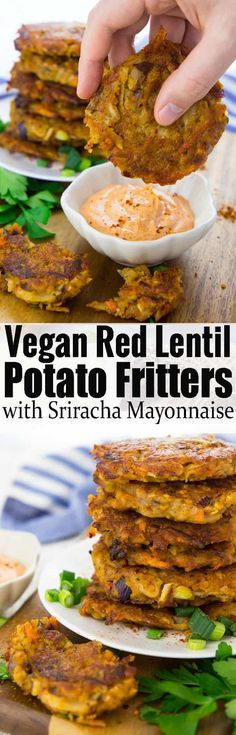 These potato fritters with red lentils are super easy to make and so delicious! They're best with spicy sriracha mayonnaise! Find more vegan recipes and vegan dinner ideas on veganheaven.org!