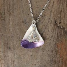 Wampum Pendant Sailboat necklace Native by BeachwoodStreet on Etsy