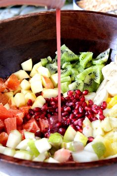 Tropical Winter Fruit Salad with Caramelized Cashews and Pomegranate Vinaigrette