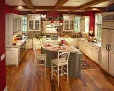 In love with this red kitchen!