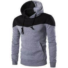 IZZUMI Classic Color Block Front Pocket Hooded Long Sleeves Hoodie For... (35 BAM) ❤ liked on Polyvore featuring men's fashion, men's clothing, men's hoodies, mens hoodies and mens sweatshirts and hoodies