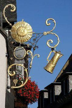 Imagini pentru restaurant signs in germany Restaurant Signs, Pub Signs, Muebles Estilo Art Nouveau, Blade Sign, Storefront Signs, Shop Fronts, Business Signs, Store Signs, Hanging Signs