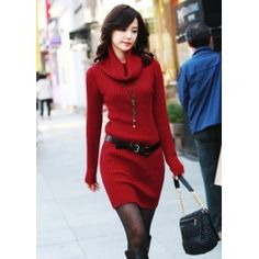 Red Classy Neck Long Sleeve Sweater Dress $45.99