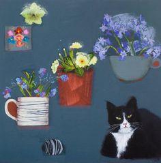 Emma Dunbar - Comfy cat with spring posy's+