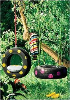 Decorated swing tyres.  Gloucestershire Resource Centre http://www.grcltd.org/scrapstore/