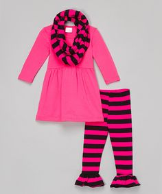Look at this Lady's World Pink Stripe Infinity Scarf Set - Infant, Toddler & Girls on #zulily today!