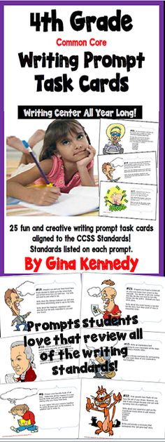 Twenty-five 4th Grade Writing Prompt Task Cards! Fun and creative writing projects directly aligned to the 4th Grade Language Arts CCSS Standards, but suitable to any 4th grade curriculum. Each prompt directs the student to complete a writing project following explicit directions that integrate important writing standards such as constructing an opinion paper, using certain conjunctions and transitions, creating strong conclusions and much more.$