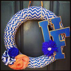 Florida gators wreath made with burlap chevron ribbon!