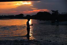 夕景の多摩川