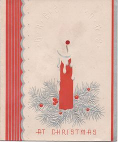 Used 1950s Christmas Card, Greetings At Christmas, Red Candle, good shape by VintageNEJunk on Etsy