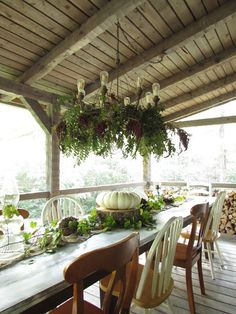 Fall Home Tour | Porch Tablescape | Outdoor Chandelier | Hood Creek Log Cabin