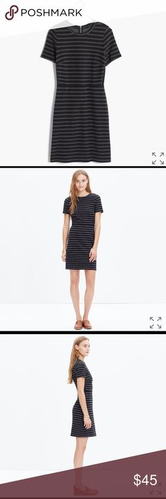 Madewell Upstage Dress PRODUCT DETAILS A lean, sexy short-sleeve dress in stretchy textural jacquard. In yarn-dyed stripes, it's like a favorite tee that can go out on the town. Madewell Dresses Mini