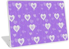 Purple & White Hearts Pattern   Design available for PC Laptop, MacBook Air, MacBook Pro, & MacBook Retina