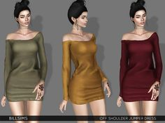 Off Shoulder Jumper Dress (TS3) • New Mesh • All LODs • All Morphs | Available for maternity • YA/AF | Everyday/Sleepwear/Athletic • Recolorable | 2 channels • 3 variations included • Launcher and CAS...