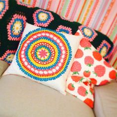 """My mom made me this beautifull mandala crochet cushion  #crochet #mandala #mandalacrochet #handmade #handgemaakt #haken #gehaakt #gehaaltkussen #kussen #cushion #onthecouch #hakeniship #colorful #colorfulliving #kleurrijk #kleurrijkhaken #colorexplosion"" Photo taken by @colors_of_life67 on Instagram, pinned via the InstaPin iOS App! http://www.instapinapp.com (08/23/2015)"