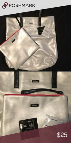 💥Sale Philosophy tote and makeup bag 🛍Large Philosophy tote and make up bag w/samples! Brand new, never used silver, red and black Philosophy tote and large make up travel bag with 2 free samples! Sally Nails, Free Samples, Large Bags, Fashion Design, Fashion Tips, Fashion Trends, Travel Bag, Philosophy, Totes