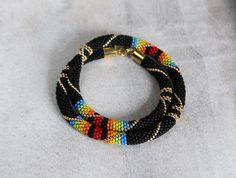 Black Gold Necklace Rainbow Necklace Bead Crochet Necklace