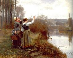"""Daniel Ridgway Knight (1839-1924) """"Hailing the Ferry"""" Oil on canvas To see more works by this artist please visit us at: http://www.artrenewal.org/pages/artist.php?artistid=138"""