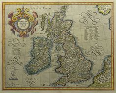 'Anglia, Scotia et Hibernia' Mercator, Gerard.  Copper engraved with hand colouring. Hondius c.1628. 328 x 412 mm Gerard Mercator (1512 - 1594) originally a student of philosophy was one of the most renowned cosmographers and geographers of the 16th century, as well as an accomplished scientific instrument maker. He is most famous for introducing Mercators Projection, a system which allowed navigators to plot the same constant compass bearing on a flat map.