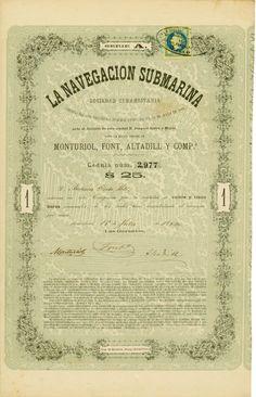 La Navegacion Submarina Sociedad Comanditaria, Barcelona, 15.07.1864, Aktie über 25 Duros, #2977, 33,3 x 20,8 cm, grün, schwarz, DB, Original-Signatur von Narcis Monturiol, dem Erfinder des ersten tauchfähigen U-Bootes.