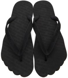 VETEMENTS: Black Logo Toe Flip Flops | SSENSE Men's Sandals, Black Rubber, Flipping, Open Toe, Flip Flops, Slip On, Logos, Pattern, Stuff To Buy