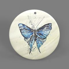Color Printing Butterfly White Shell Pendant Necklace J1705 0052 #ZL #Pendnat