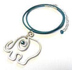 Baby Elephant Pendant, Swarovski Crystals, Leather - Teal or White   LisaKelleherDotCom - Jewelry on ArtFire