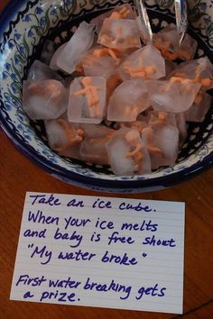 "Cute baby shower game- ""My water broke!"" Wow. No matter how fun this is, there's still that first moment before you've explained the game when your guests see you've put a bowl of frozen plastic babies on the table. ... Actually, I may need to try this just for that moment.  #babyshowergames #babyshowerideas #fun"