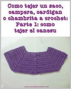 Cómo tejer un saco, campera, cardigan o chambrita a crochet o ganchillo paso a paso: Parte - Cómo tejer el canesú [] # # # # # # # # # Crochet Lace Collar, Crochet Yoke, Crochet Halter Tops, Crochet Cardigan, Crochet Granny, Crochet Stitches, Crochet Baby, Free Crochet, Crochet Jacket