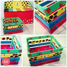 Cajones canastos pintados a mano, diseños únicos y personalizados by Quiero Algo Bonito!! Decoupage, Decorative Boxes, Kids Rugs, Diy, Home Decor, Painted Drawers, Painted Boxes, Wood, Manualidades