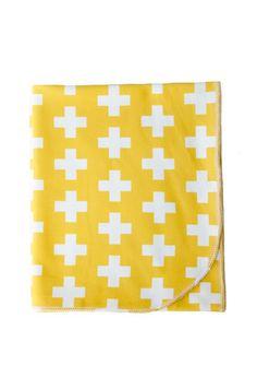 organic cotton baby + toddler blanket in mustard plus
