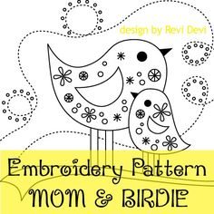 Mom and Birdie 15007 - Cute Embroidery Pattern - Downloadable PDF - Chic whimsical design