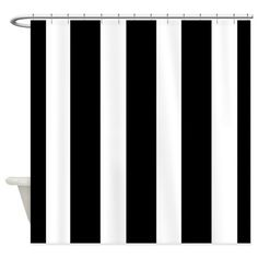 Striking Black and White stripe Shower Curtain by Just_Me - CafePress