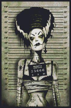 horror cross stitch  | Modern Cross Stitch Kit By Marcus Jones 'Franky's Wife Arrested' - Mug ...