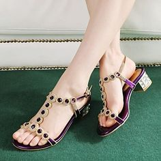 Women's Shoes Leather Chunky Heel Comfort Sandals Wedding/Party & Evening/Casual Blue/Purple/Silver – USD $ 39.99