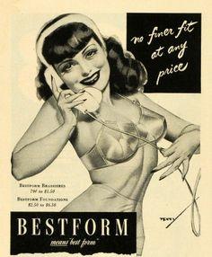 1944 Ad Bestform Ladies Bras Undergarments Sexy Woman Telephone Art George Petty | eBay