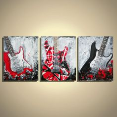 Guitar painting Guitar Frankenstrat Music Art Gift for musician Original Painting on Canvas, Triptych by Magda Magier