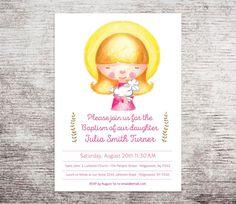 Girl Baptism Invitation, Christening Invitation, Baby dedication Invitation, Printable Baptism Invitation, Naming Day by LindaWallStickers on Etsy