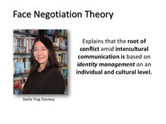 Face Negotiation Theory Explains that the root of conflict amid intercultural communication is based on identity management on an individual and cultural ...