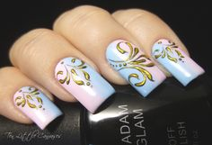 Review and New Mani: Madam Glam Gel Polish with Antique Gold Design | Ten Little Canvases
