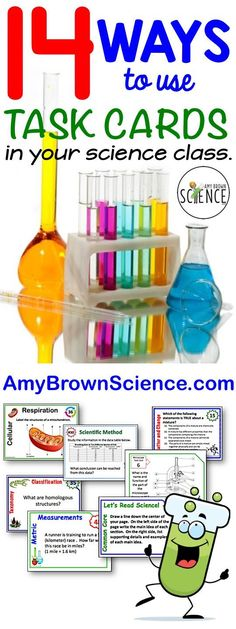 Task cards are perfect for high school science classes.  Check out my blog post for 14 ways to use task cards with your high school students.  AmyBrownScience.com