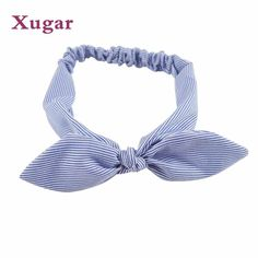 dae54be1bb0 Hair Bands Women Cotton Striped Headband Knotted Bow Rabbit Ear Stretch  Band  fashion  clothing