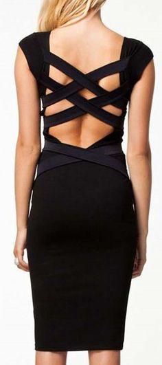 Black Crisscross Sheath Dress #LBD