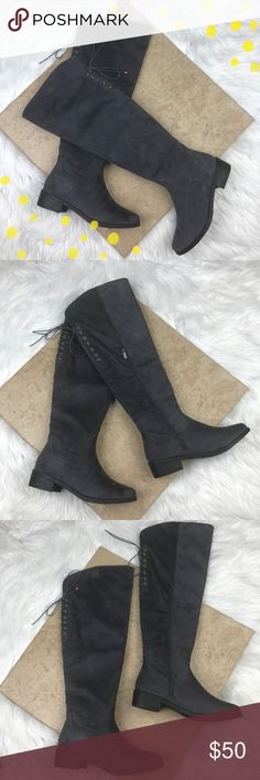 """EUC Top Moda gray knee high boots size 7.5 EUC Top Moda gray over the knee boots size 7.5. So cute and perfect for fall and winter. Worn twice, with no signs of wear. Zips up the sides and has stretch in the back of the calf to fit a wider calf and adorable decorative ties. Approx 20"""" in total height with a 1.5"""" heel. Open to offers, no trades. Top Moda Shoes Over the Knee Boots"""