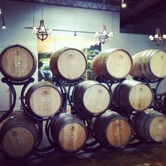 Wine barrels at Mermaid Winery