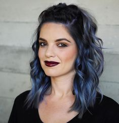 medium brunette hairstyle, blue hair