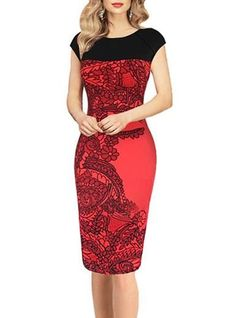 Bodycon Knee Length Dress - Short Capped Sleeves / Lace Panel Overlay / Fitted Hemline / Red Black