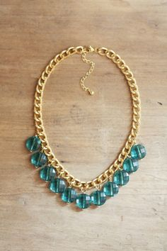 Teal Emerald Statement Necklace on Chunky Gold by ShopNestled