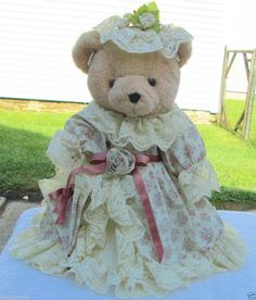 "Gorgeous Bearly People 15"" Victorian Elegance Bear with Stand & Outfit #BearlyPeople #AllOccasion http://stores.ebay.com/bhtresures-internet-store"