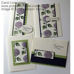 """1.13-in-One-derful (Cards 1-4 - Basic Version)--I was inspired to create my own DSP using the Hydrangea from the Best of Flowers set coloring with Perfect Plum and Pear Pizzazz. I loved it so much I challenged myself to create as many different cards from my 8-1/2 x 11 sheet of DSP as I could. I was able to create """"13"""" different cards from this sheet. These are the """"basic"""" version. I tend to go over the top with my designs so this was a real challenge. 8-)"""